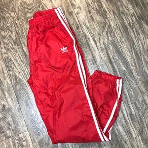 Adidas Men's Red 3 Stripe Trefoil Track Pants Cuff